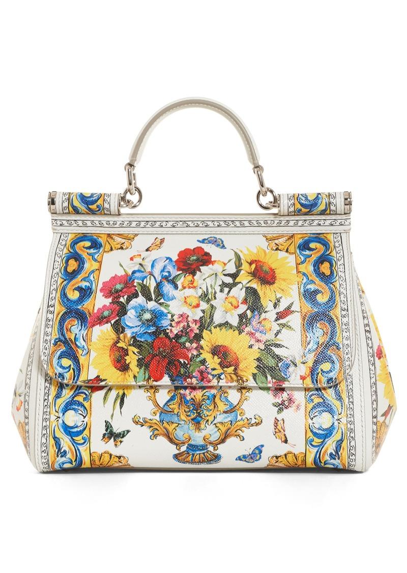 Dolce Gabbana Medium Maiolica Fiori Sicily Leather Satchel
