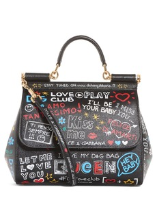 Dolce & Gabbana Dolce&Gabbana Medium Sicily Graffiti Print Leather Satchel