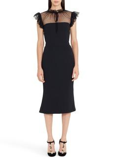 Dolce & Gabbana Dolce&Gabbana Mesh Yoke Stretch Cady Sheath Dress