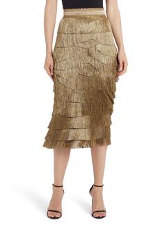 Dolce & Gabbana Dolce&Gabbana Metallic Fringe Stretch Silk Midi Skirt