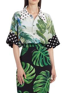 Dolce & Gabbana Dolce&Gabbana Mixed Polka Dot and Leaf Print Shirt