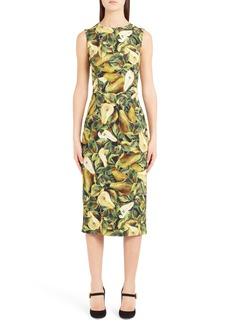 Dolce & Gabbana Dolce&Gabbana Pear Print Cady Sheath Dress