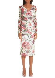 Dolce & Gabbana Dolce&Gabbana Peony & Rose Print Stretch Silk Dress