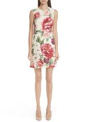 Dolce & Gabbana Dolce&Gabbana Peony Print Wool Shift Dress