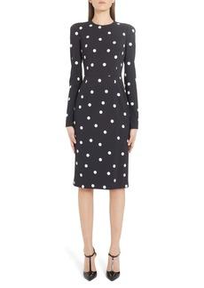 Dolce & Gabbana Dolce&Gabbana Polka Dot Long Sleeve Sheath Dress