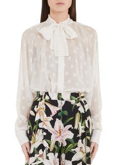Dolce & Gabbana Dolce&Gabbana Polka Dot Tie Neck Blouse