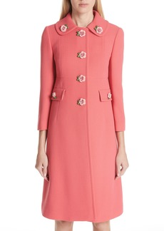 Dolce & Gabbana Dolce&Gabbana Rose Button Wool Coat