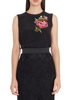Dolce & Gabbana Dolce&Gabbana Rose Embellished Silk Blouse