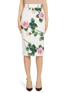 Dolce & Gabbana Dolce&Gabbana Rose Print Pencil Skirt
