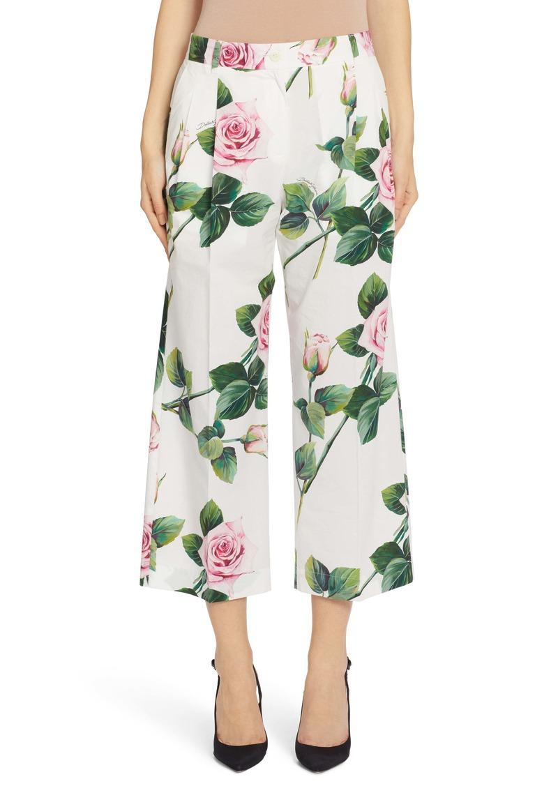 Dolce & Gabbana Dolce&Gabbana Rose Print Poplin Pants