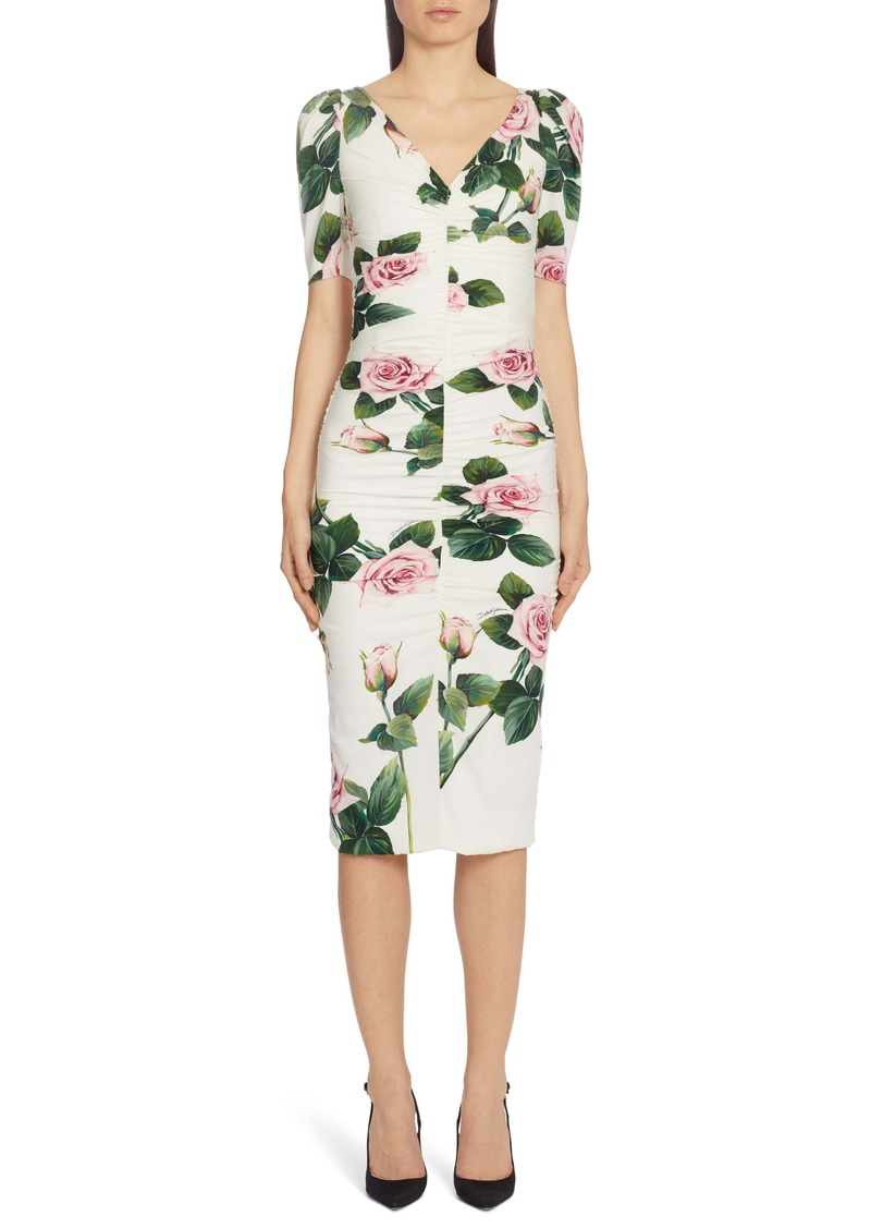 Dolce & Gabbana Dolce&Gabbana Rose Print Ruched Sheath Dress