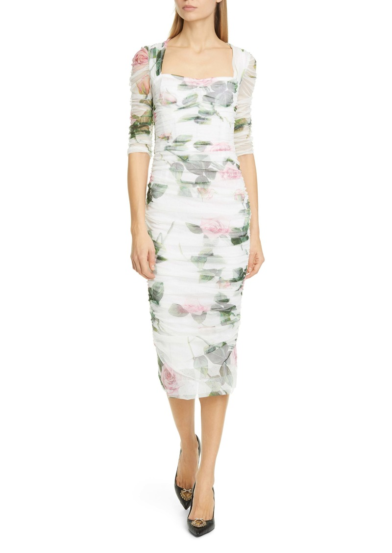 Dolce & Gabbana Dolce&Gabbana Rose Print Ruched Tulle Midi Dress