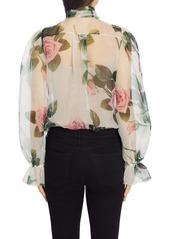 Dolce & Gabbana Dolce&Gabbana Rose Print Sheer Organza Blouse