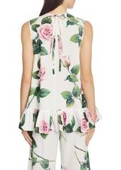 Dolce & Gabbana Dolce&Gabbana Rose Print Sleeveless Poplin Top