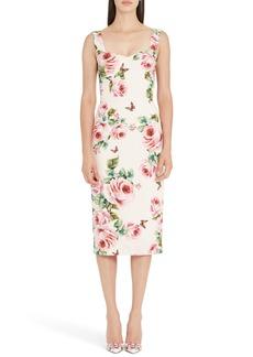 Dolce & Gabbana Dolce&Gabbana Rose Print Stretch Cady Sheath Dress