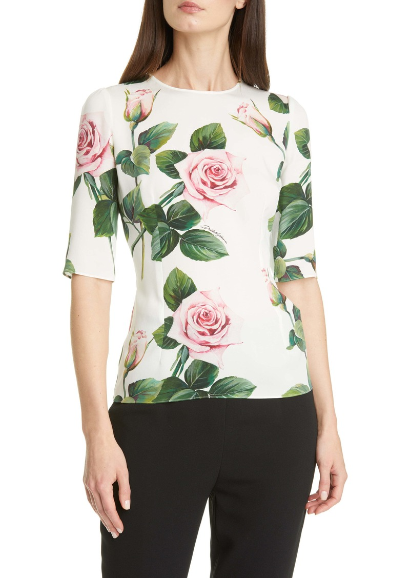 Dolce & Gabbana Dolce&Gabbana Rose Print Stretch Silk Charmeuse Top