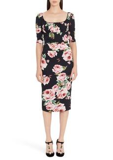Dolce & Gabbana Dolce&Gabbana Rose Print Stretch Silk Dress