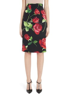 Dolce & Gabbana Dolce&Gabbana Rose Print Stretch Silk Pencil Skirt