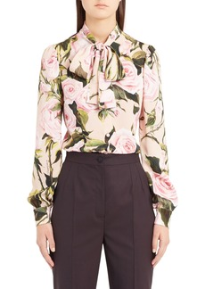 Dolce & Gabbana Dolce&Gabbana Rose Print Tie Neck Stretch Silk Blouse