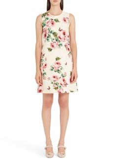 Dolce & Gabbana Dolce&Gabbana Rose Print Wool & Silk Shift Dress