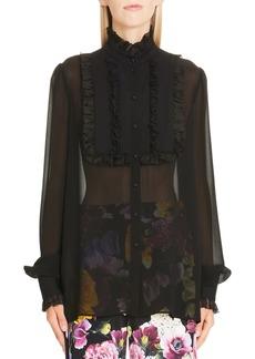 Dolce & Gabbana Dolce&Gabbana Ruffle Bib Sheer Stretch Silk Blouse