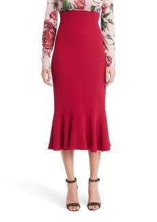 Dolce & Gabbana Dolce&Gabbana Ruffle Hem Cady Pencil Skirt