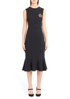 Dolce & Gabbana Dolce&Gabbana Sacred Heart Embellished Flare Hem Sheath Dress