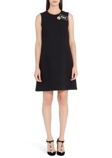Dolce & Gabbana Dolce&Gabbana Sequin Logo Crepe A-Line Dress