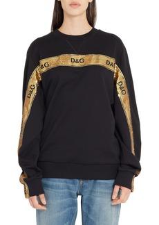 Dolce & Gabbana Dolce&Gabbana Sequin Logo Stripe Sweatshirt