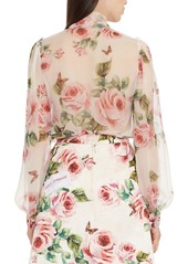 1d1f41f8144012 ... Dolce   Gabbana Dolce Gabbana Sheer Rose Print Silk Blouse