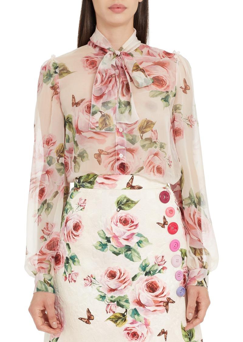 dd1ff7057a1775 Dolce   Gabbana Dolce Gabbana Sheer Rose Print Silk Blouse