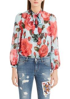 Dolce & Gabbana Dolce&Gabbana Sheer Rose Print Silk Chiffon Blouse