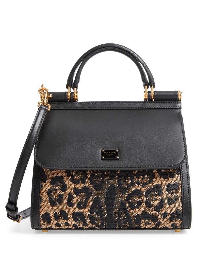 Dolce & Gabbana Dolce&Gabbana Sicily 58 Leopard Pattern & Leather Satchel