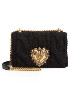 Dolce & Gabbana Dolce&Gabbana Small Devotion Cable Knit Wool Blend Shoulder Bag