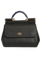 Dolce & Gabbana Dolce&Gabbana Small Miss Sicily Embellished Top Handle Leather Satchel