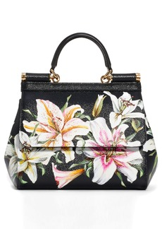 Dolce & Gabbana Dolce&Gabbana Small Sicily Lily Print Leather Satchel