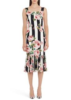 Dolce & Gabbana Dolce&Gabbana Stripe Rose Print Stretch Silk Dress
