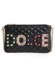 Dolce & Gabbana Dolce&Gabbana Studded Logo Patch Leather and Genuine Snakeskin Bag