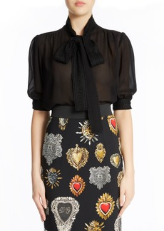 Dolce & Gabbana Dolce&Gabbana Tie Neck Silk Blend Crepe Blouse