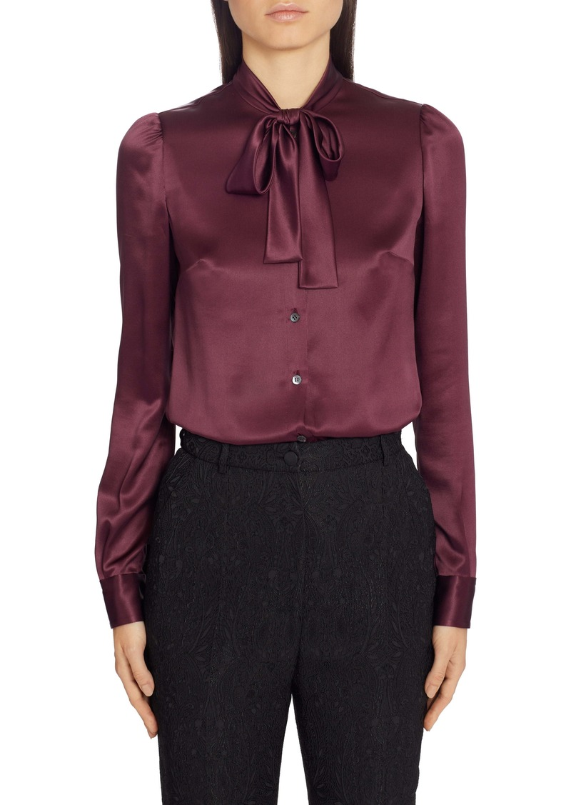 Dolce & Gabbana Dolce&Gabbana Tie Neck Stretch Satin Blouse