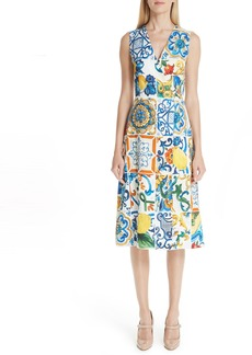 Dolce & Gabbana Dolce&Gabbana Tile Print Brocade Dress
