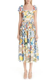 Dolce & Gabbana Dolce&Gabbana Tile Print Poplin Dress