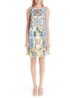 Dolce & Gabbana Dolce&Gabbana Tile Print Stretch Silk Dress