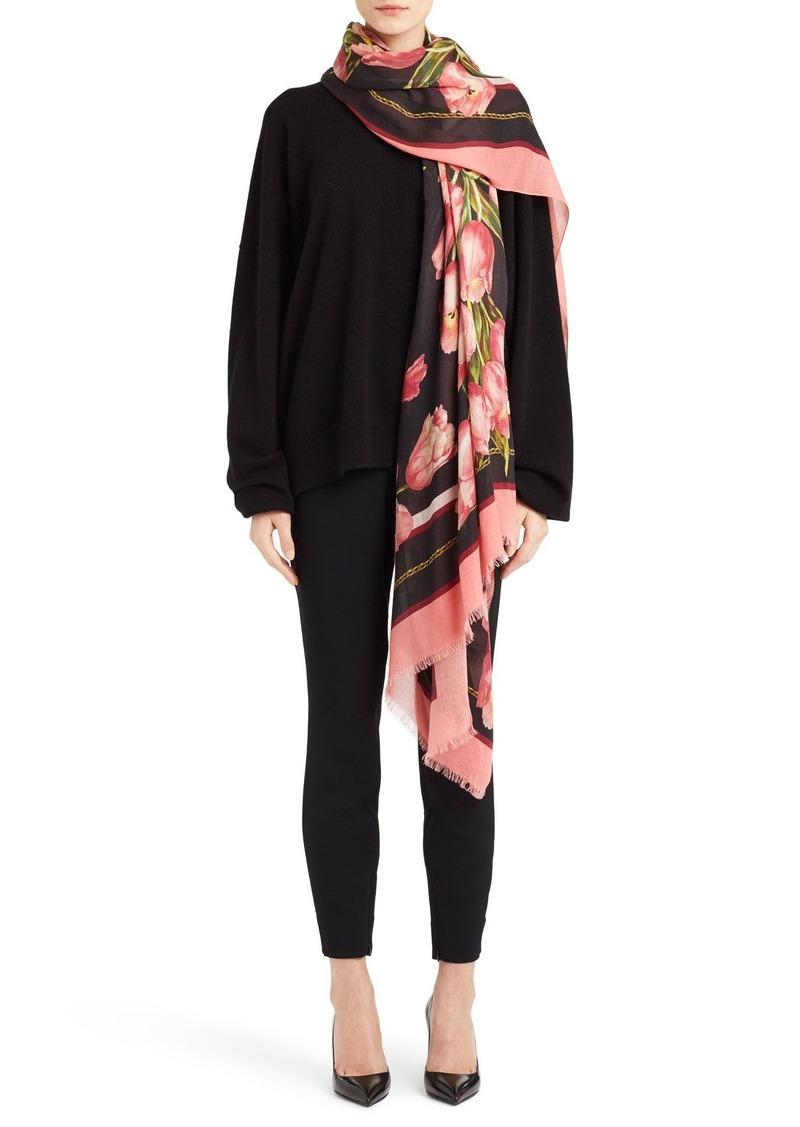 Dolce & Gabbana Dolce&Gabbana Tulip Print Modal & Cashmere Scarf
