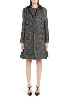 Dolce & Gabbana Dolce&Gabbana Velvet Trim Double Breasted Coat