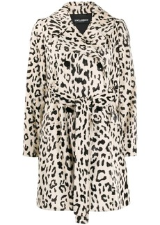 Dolce & Gabbana double-breasted leopard coat
