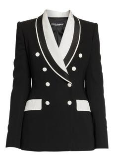Dolce & Gabbana Double Breasted Stretch Silk & Wool Contrast Blazer