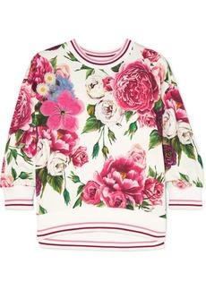 Dolce & Gabbana Embellished Appliquéd Floral-print Cotton-blend Jersey Sweatshirt