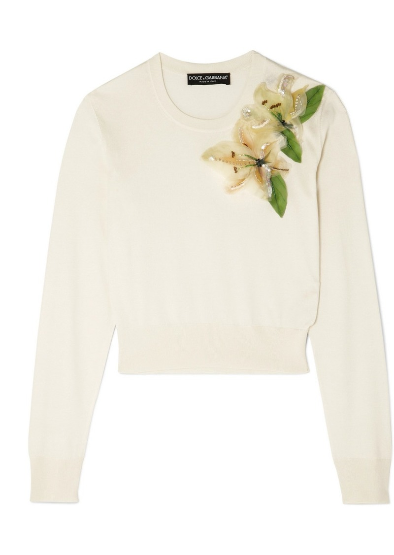 Dolce & Gabbana Embellished Appliquéd Silk Sweater