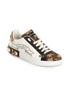 Dolce & Gabbana Embellished Floral Low-Top Sneakers